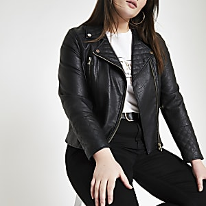 Plus black faux leather quilted biker jacket