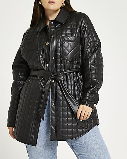Plus black faux leather quilted shacket
