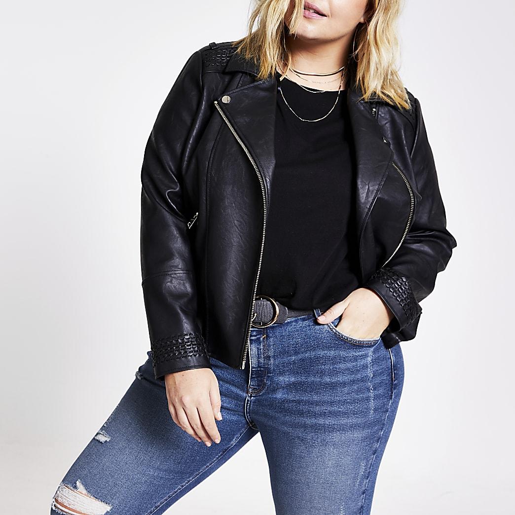 Plus black faux leather stitched jacket