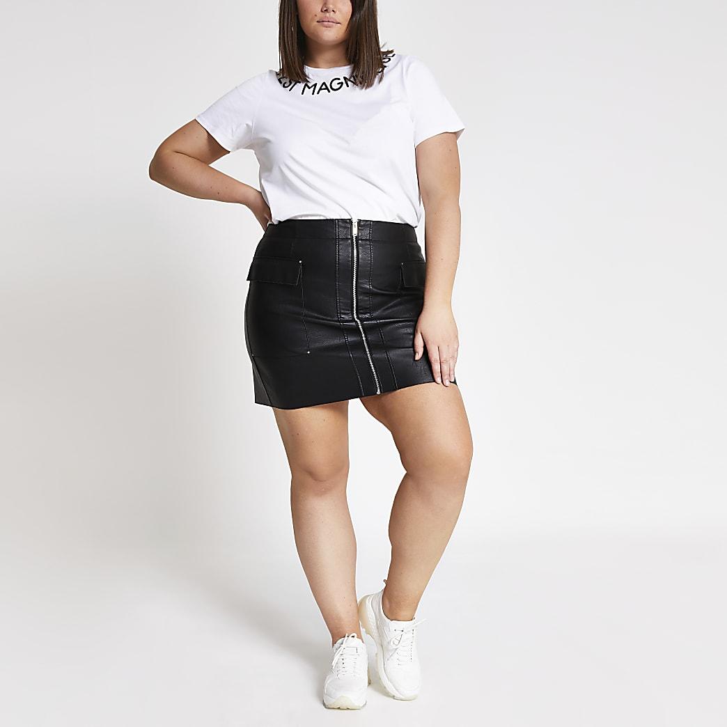 Plus black faux leather utility mini skirt