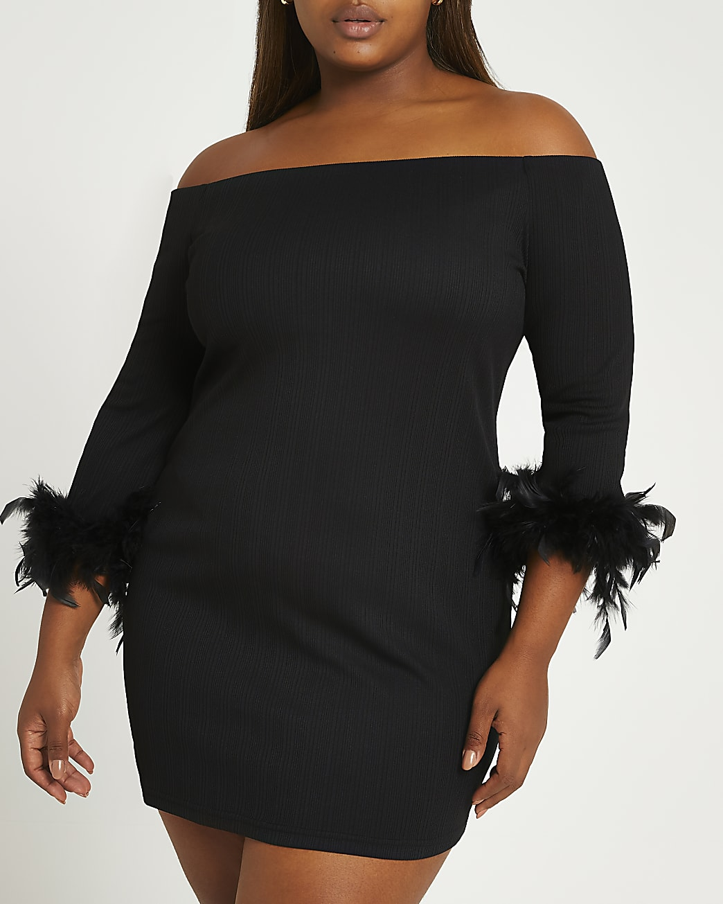 Plus black feather cuff bardot dress