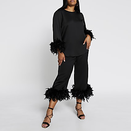 Plus black feather hem trousers
