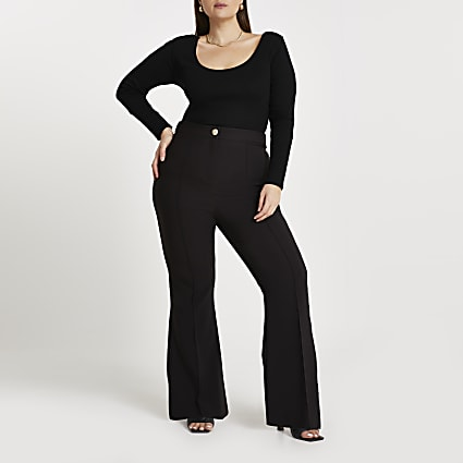 Plus black flared trousers