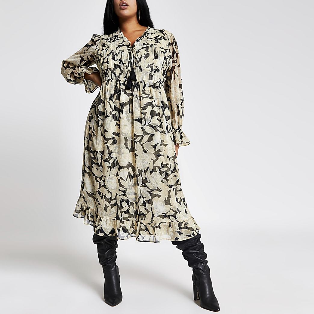 RI Plus - Zwarte gesmokte midi-jurk met bloemenprint en franje
