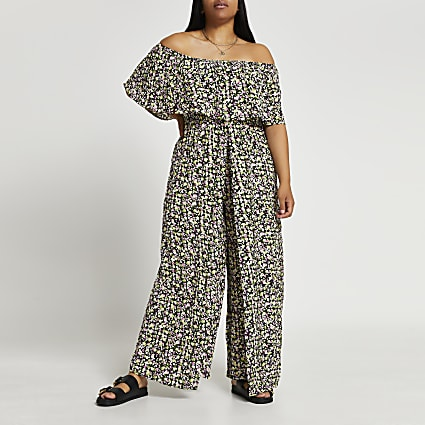 Plus black floral print bardot jumpsuit
