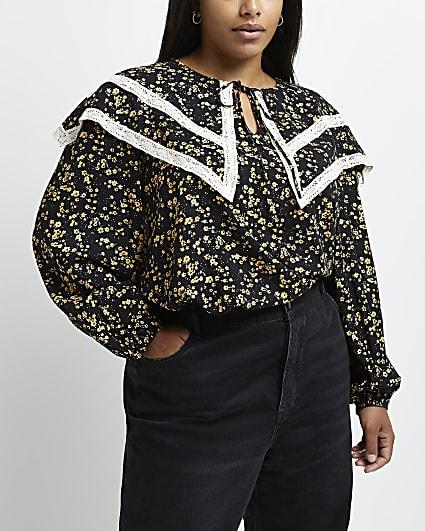 Plus black floral print blouse