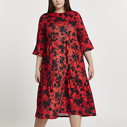 Plus black floral print smock midi dress