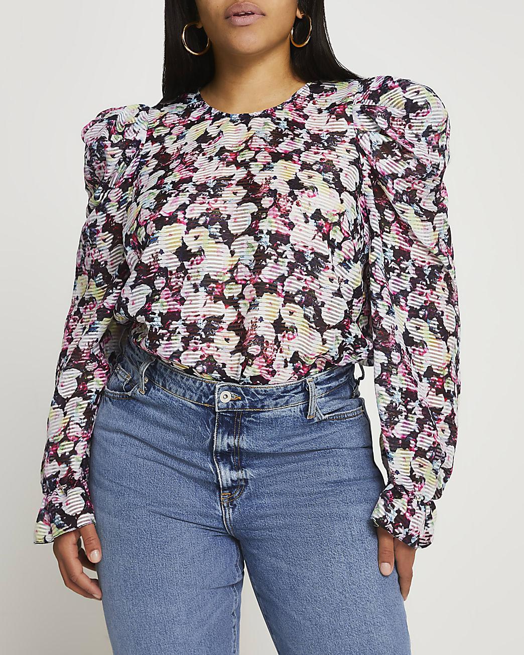 Plus black floral puff sleeve blouse top