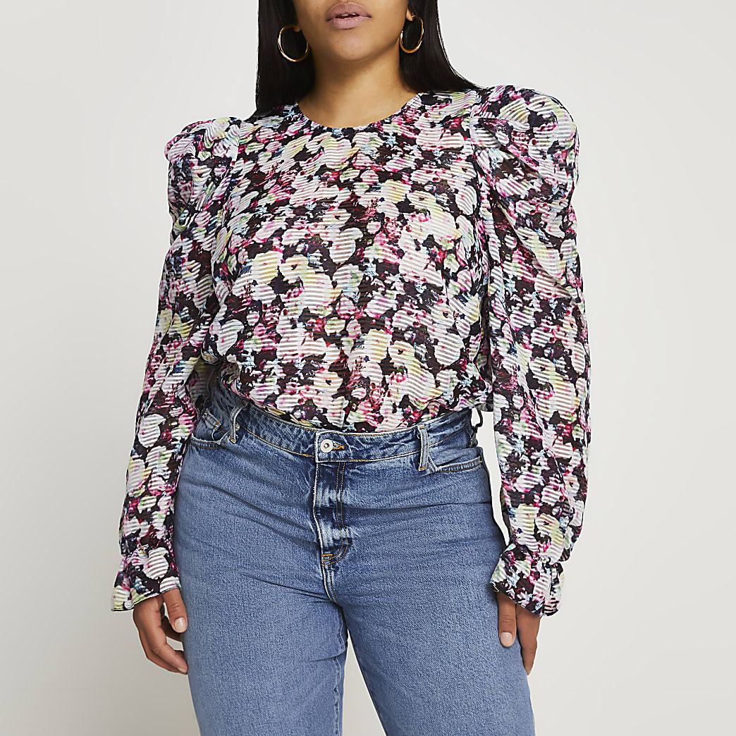 Plus black floral puff sleeve blouse top