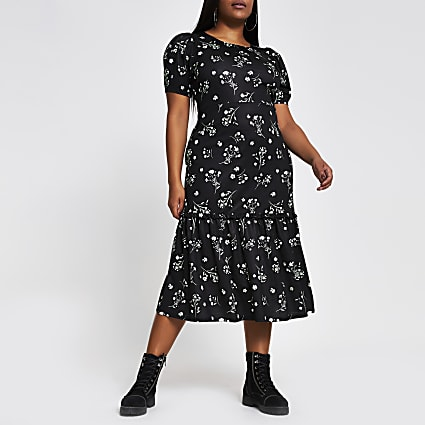 Plus black floral puff sleeve midi dress