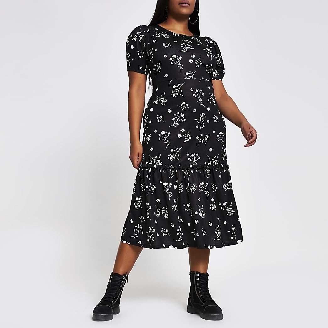 Plus black floral puff sleeve midi dress