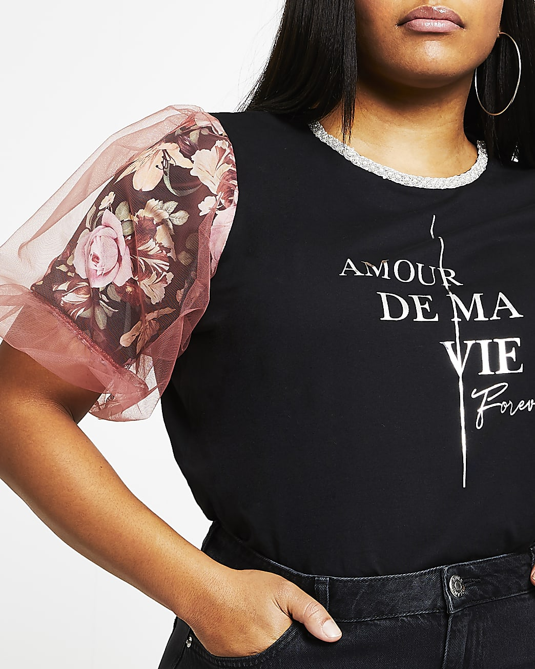 Plus black floral short sleeve mesh t-shirt