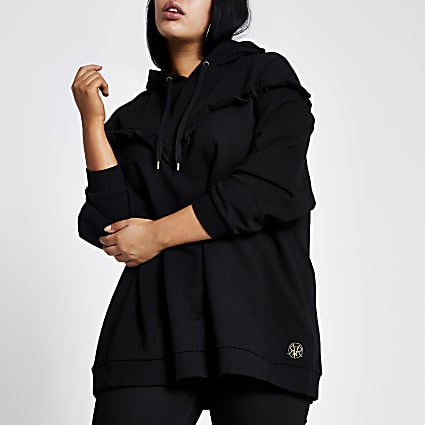 Plus black frill chevron ribbed hoodie