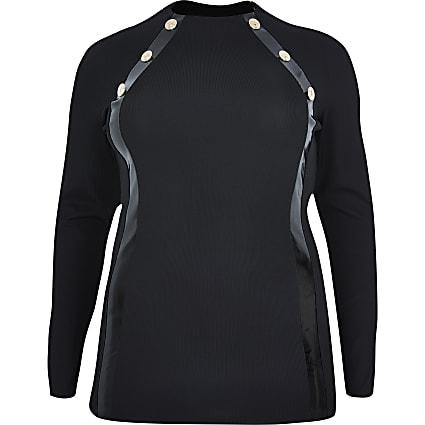 Plus black gold button long sleeve top