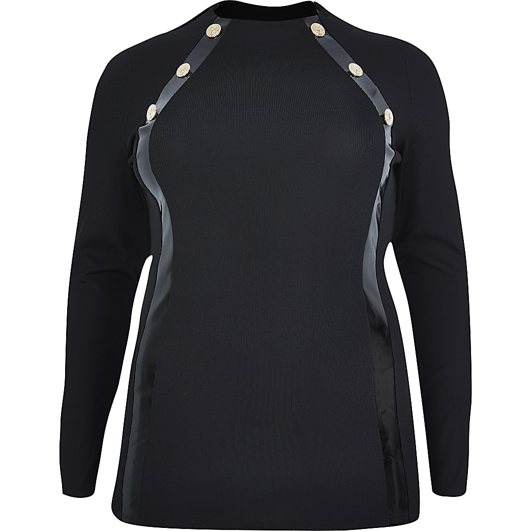 Plus black gold button long sleeve top