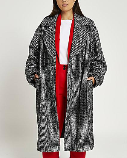 Plus black herringbone double breasted coat