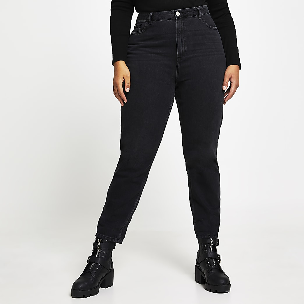 Plus black high rise Mom jeans