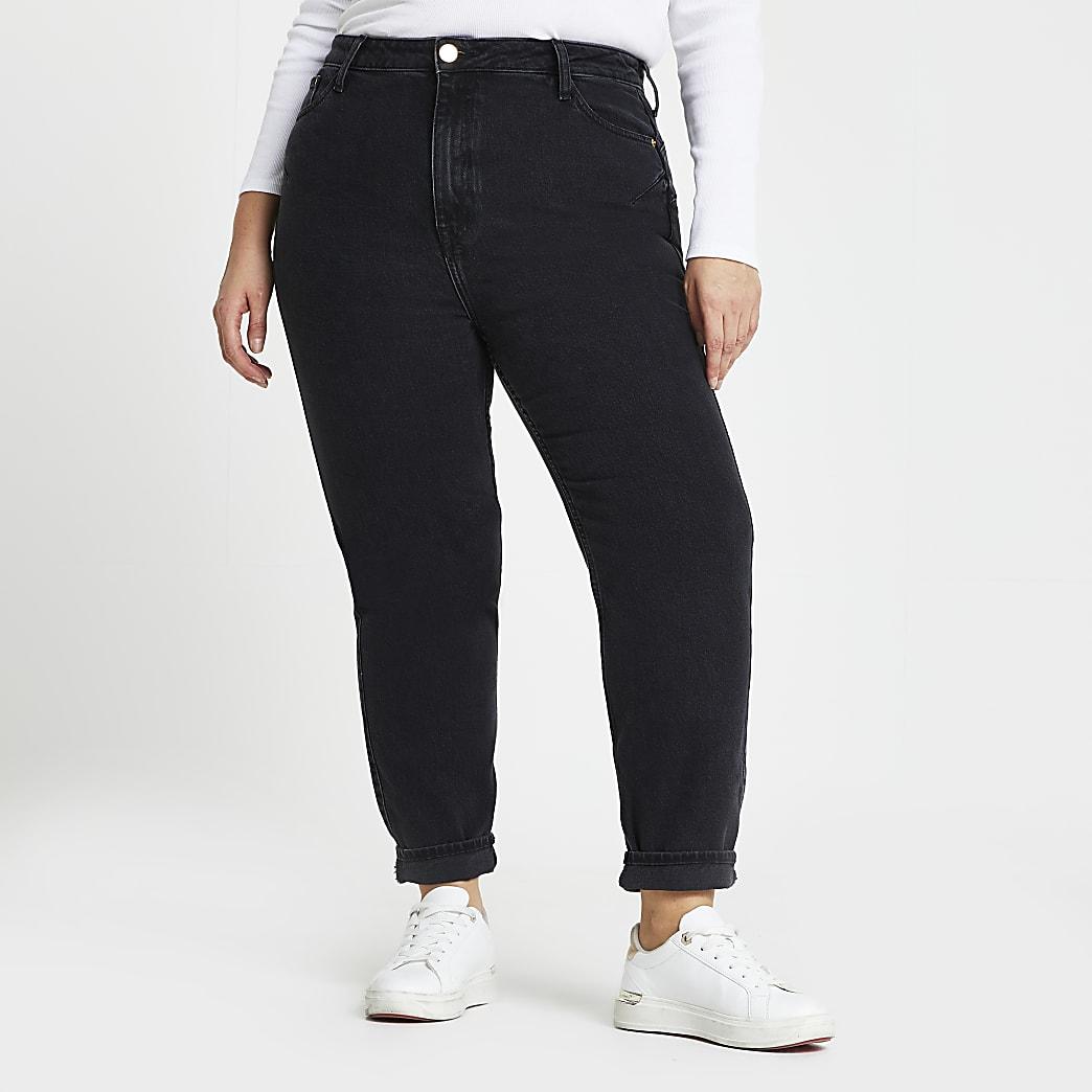 Plus black high rise sculpt mom jeans