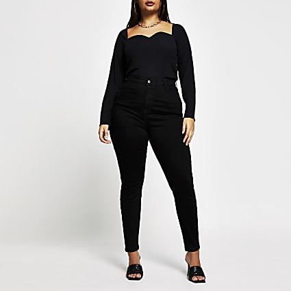 Plus black high rise skinny denim jeans