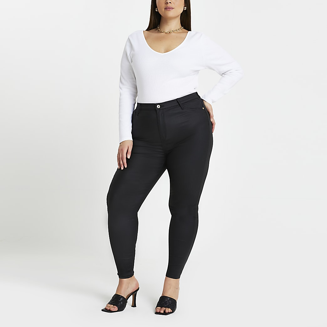 Plus black high rise skinny jeans