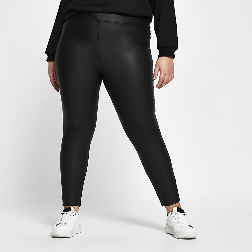 Plus black high waist coated leggings