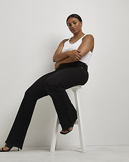 Plus black high waisted flared jeans