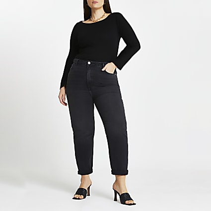 Plus black high waisted jeans