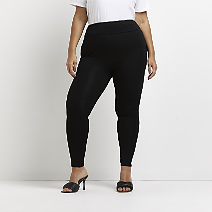 Plus black high waisted jersey leggings