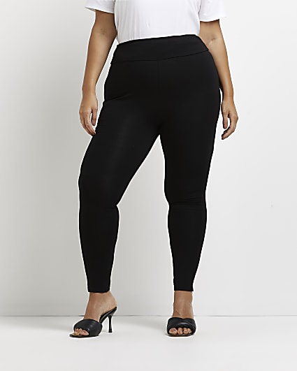 Plus black high waisted jersey leggings