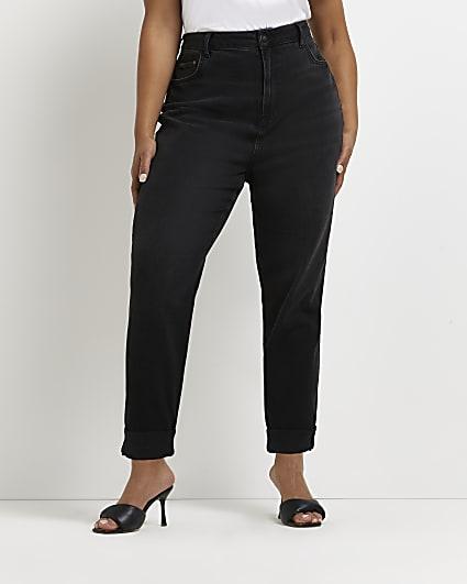 Plus black high waisted mom jeans