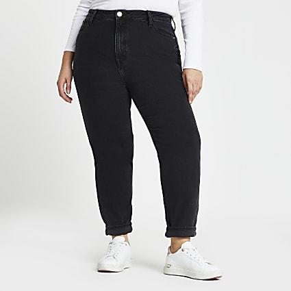 Plus Black high waisted mom stretch jeans