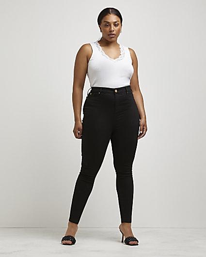 Plus black high waisted skinny jeans