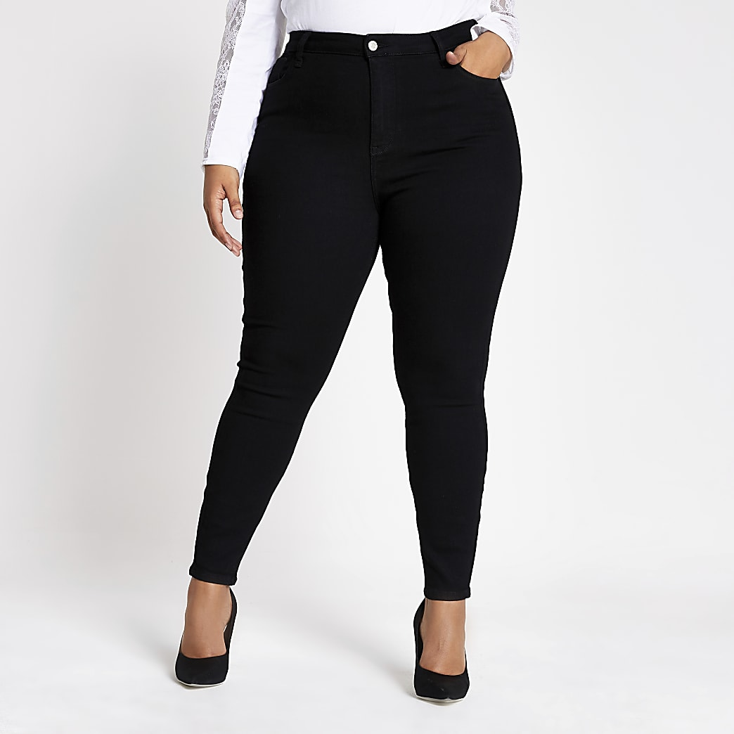 Plus Black high waisted skinny jeans