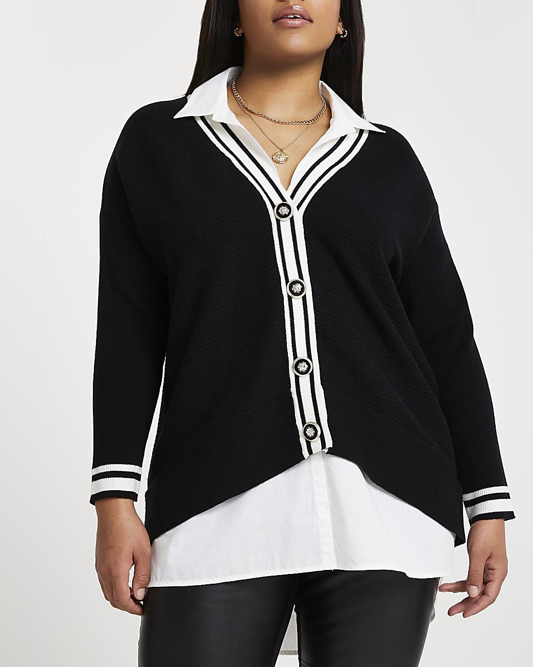 Plus black hybrid cardigan