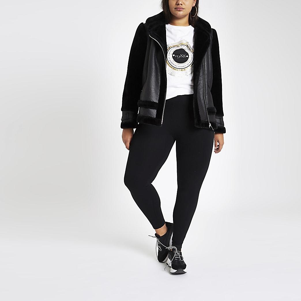Plus – Schwarze Jersey-Leggings