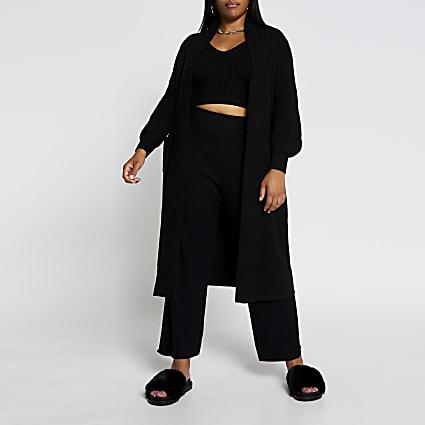 Plus black knitted maxi cardigan