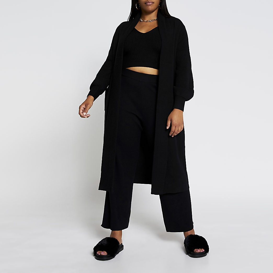 Plus black knitted maxi cardigan