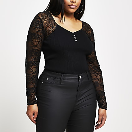 Plus black lace sleeve bodice top