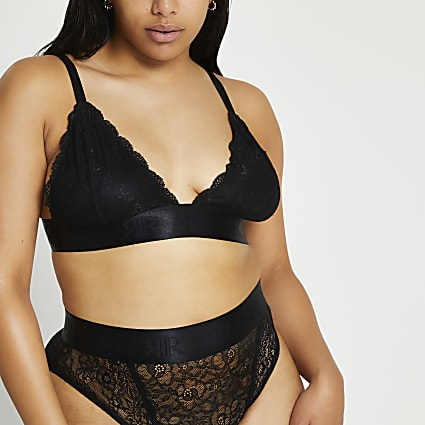 Plus black lace triangle bralet