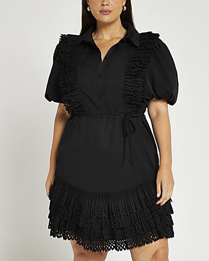 Plus black lace trim mini dress
