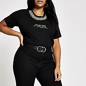 RI Plus - Zwart T-shirt met 'L'amour'-tekst en verfraaide hals