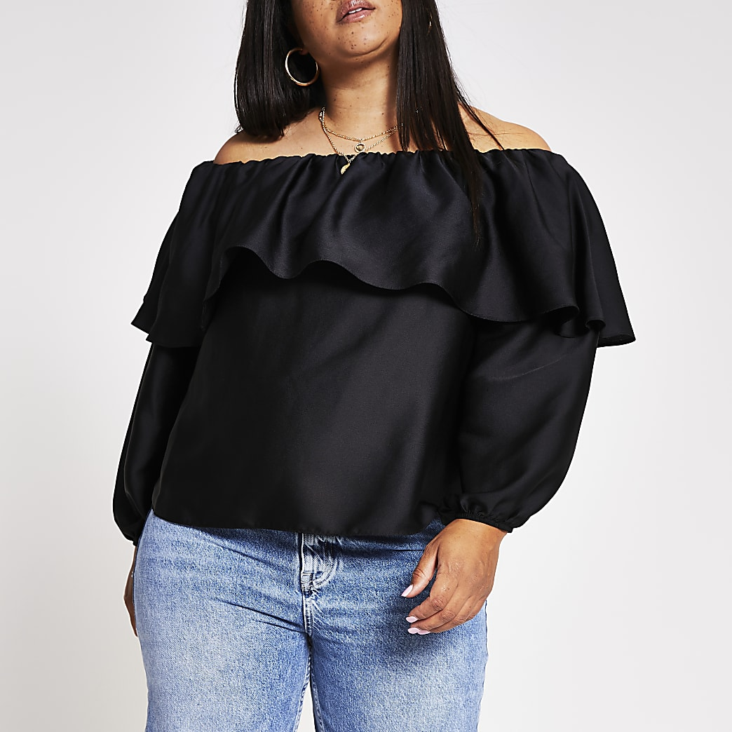 Plus black layer frill bardot top