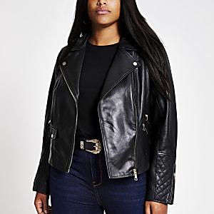 Plus – Schwarze Bikerjacke aus Leder