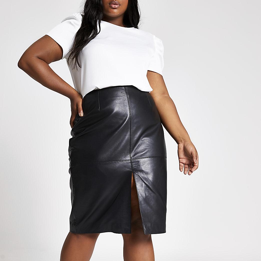 Plus black leather pencil skirt
