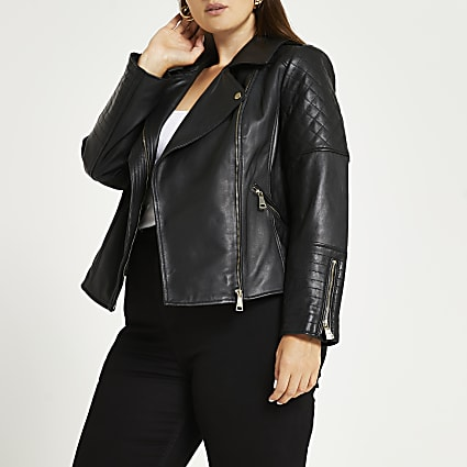 Plus black leather quilted biker jacket