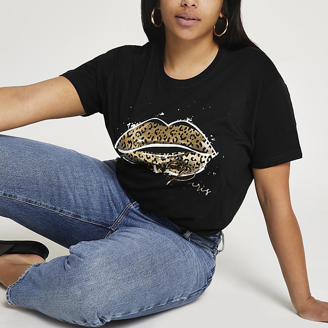 Plus black leopard print lips t-shirt
