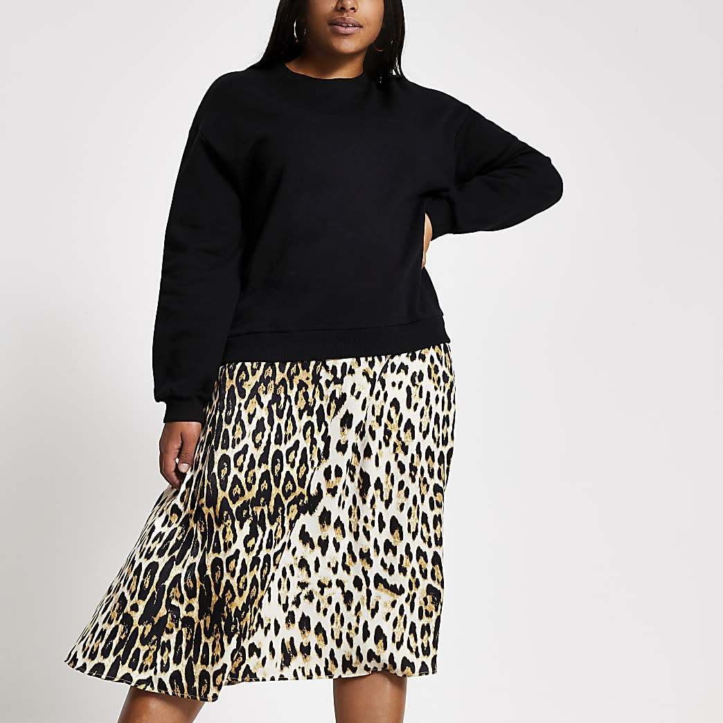 Plus black leopard print sweatshirt dress
