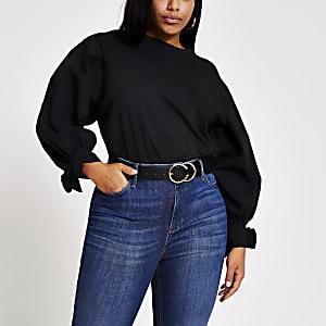 Plus – Schwarzes T-Shirt aus Popelin mit langen Puffärmeln