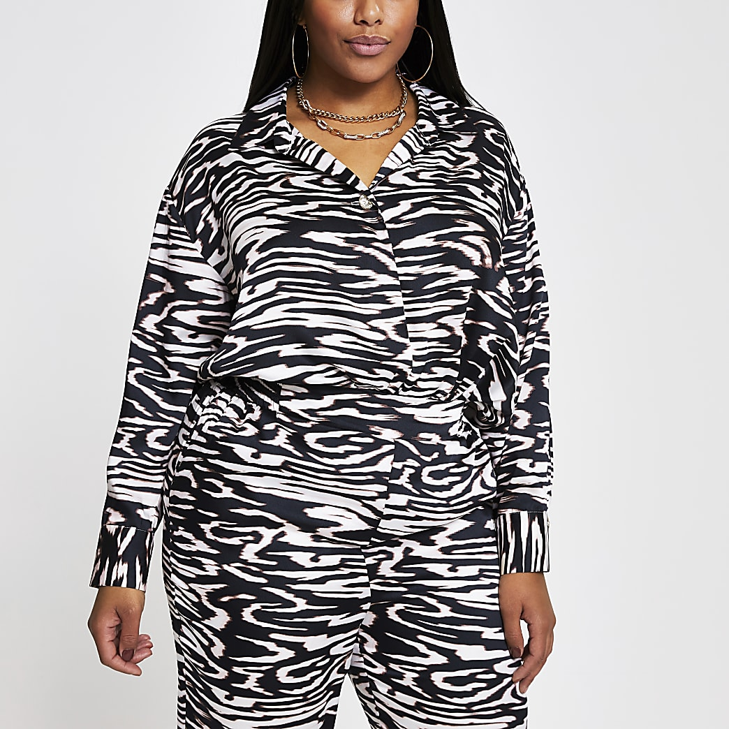 Plus black long sleeve animal print shirt