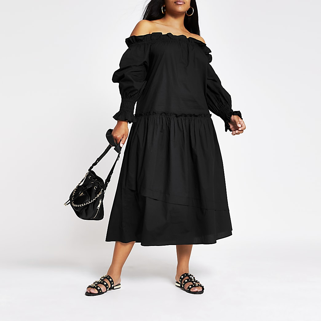 Plus black long sleeve bardot maxi dress